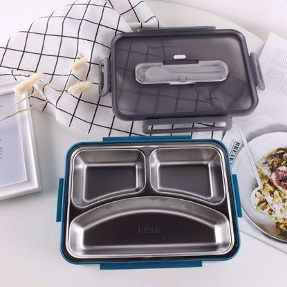 صورة Large capacity stainless steel lunch box(272*202*62mm)